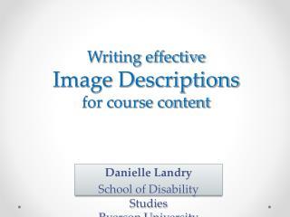 Writing effective  Image Descriptions  for course content