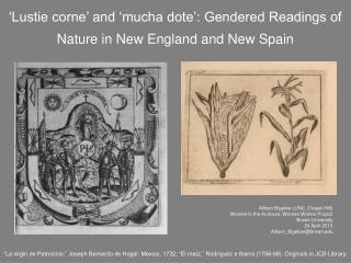 'Lustie corne' and 'mucha dote': Gendered Readings of Nature in New England and New Spain