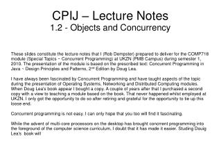CPIJ – Lecture Notes 1.2 - Objects and Concurrency