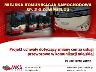 Projekt uchwały dotyczący zmiany cen za usługi przewozowe w komunikacji miejskiej