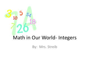 Math in Our World- Integers