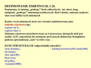 DEFINIOWANIE ZMIENNYCH, C.D.