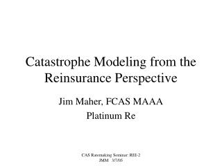 Catastrophe Modeling from the Reinsurance Perspective