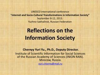 Chernyy  Yuri Yu., Ph.D., Deputy Director.