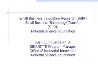 Juan E. Figueroa Ph.D. SBIR/STTR Program Manager Office of Industrial Innovation
