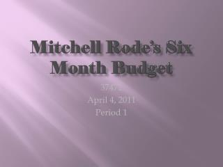 Mitchell Rode's Six Month Budget