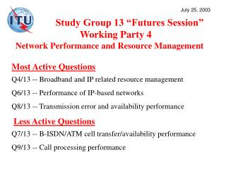 "Study Group 13 ""Futures Session""  Working Party 4 Network Performance and Resource Management"