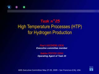 Task n°25 High Temperature Processes (HTP) for Hydrogen Production