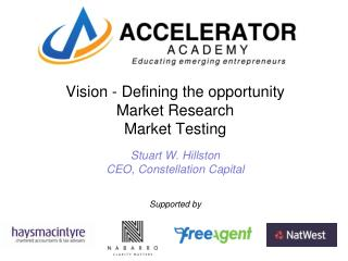 Vision - Defining the opportunity Market Research Market Testing Stuart W. Hillston