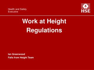 Work at Height  Regulations   Ian Greenwood Falls from Height Team