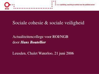 Sociale cohesie & sociale veiligheid