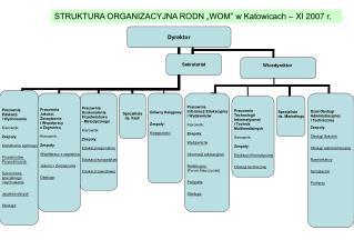 """STRUKTURA  ORGANIZACYJNA  RODN  """"WOM""""  w  Katowicach – IX 2005 r."""
