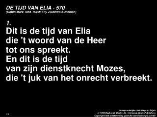 DE TIJD VAN ELIA - 570 (Robin Mark. Ned. tekst: Elly Zuiderveld-Nieman)