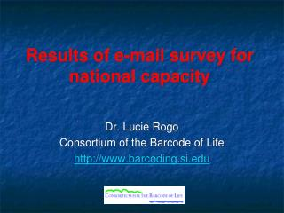 Results of e-mail survey for national capacity