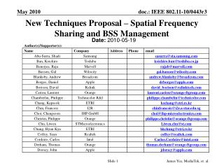 New Techniques Proposal – Spatial Frequency Sharing and BSS Management