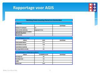 Rapportage voor AGIS