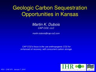 Geologic Carbon Sequestration Opportunities in Kansas