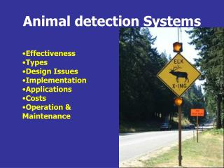 Animal detection Systems