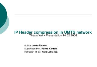 IP Header compression in UMTS network