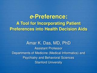 E-Preference:  A Tool for Incorporating Patient Preferences into Health Decision Aids