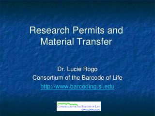 Research Permits and Material Transfer