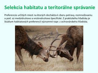 Selekcia habitatu a teritorálne správanie