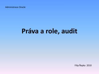 Práva a role, audit
