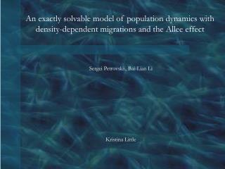 An exactly solvable model of population dynamics with density-dependent migrations and the Allee effect