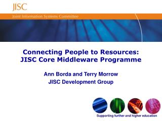 Connecting People to Resources: JISC Core Middleware Programme