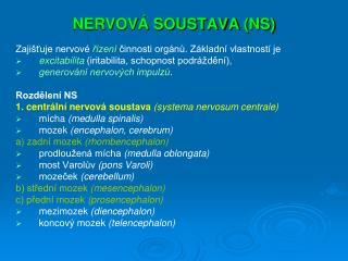 NERVOVÁ SOUSTAVA (NS)