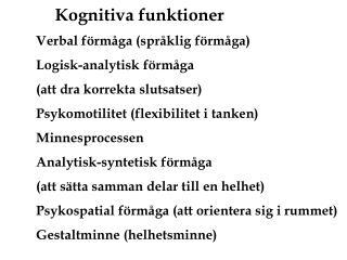 Kognitiva funktioner