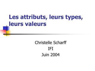 Les attributs, leurs types, leurs valeurs