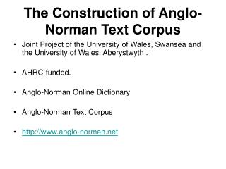 The Construction of Anglo-Norman Text Corpus