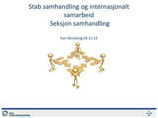 Stab samhandling og internasjonalt samarbeid  Seksjon samhandling  Kari Skredsvig 03.12.12
