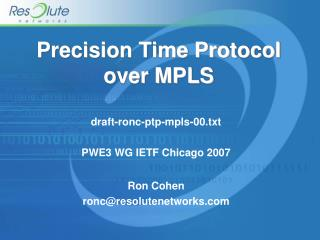 Precision Time Protocol over MPLS