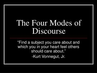 The Four Modes of Discourse