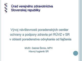 Vývoj návštevnosti poradenských centier  . ochrany a podpory zdravia pri RÚVZ v SR