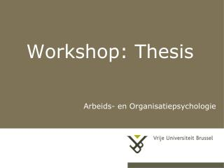 Workshop: Thesis