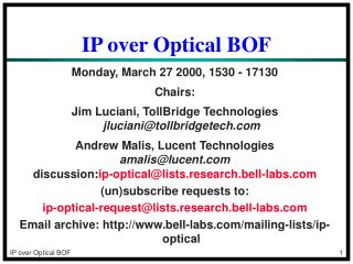 IP over Optical BOF
