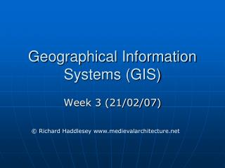 Geographical Information Systems GIS