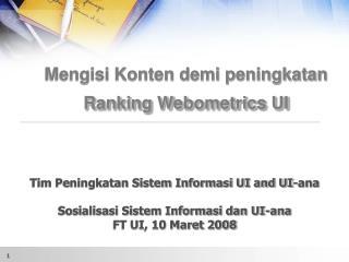 Mengisi Konten demi peningkatan Ranking Webometrics UI