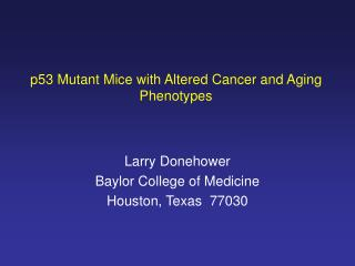 p53 Mutant Mice with Altered Cancer and Aging Phenotypes