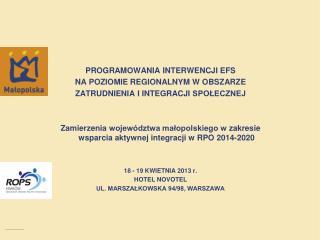 programowania interwencji  efs na poziomie regionalnym w  obszarZE
