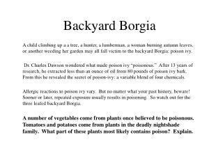 Backyard Borgia
