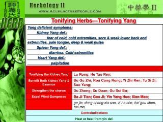 Tonifying Herbs—Tonifying Yang