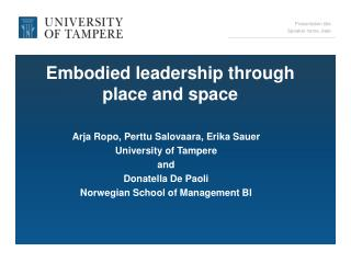 Embodied leadership through place and space