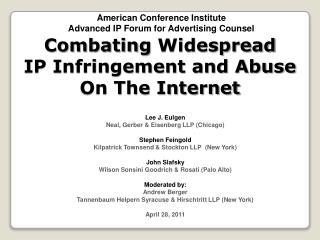 Combating Widespread IP Infringement and Abuse  On The Internet