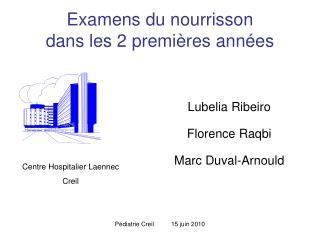 Examens du nourrisson  dans les 2 premi res ann es
