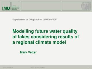 Department  of Geography  � LMU  Munich