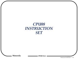 CPU08 INSTRUCTION SET